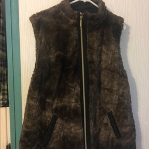 Brown fake fur and black reversible vest